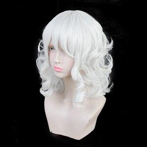 Белые волнистые волосы из аниме для взрослых, головные уборы на Хэллоуин, карнавальные принадлежности, реквизит