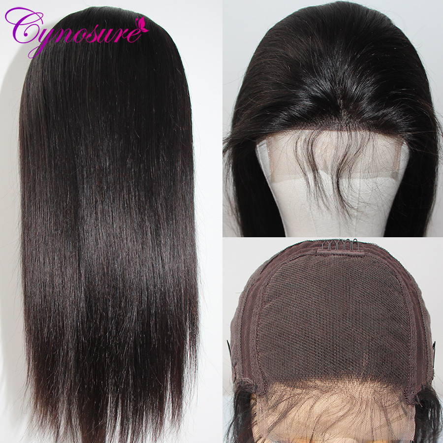 H8900893e24c84248a12f8a2538ab0812J Cynosure 4x4 Straight Lace Closure Wig Brazilian Lace Closure Human Hair Wigs Pre-Plucked with Baby Hair Remy
