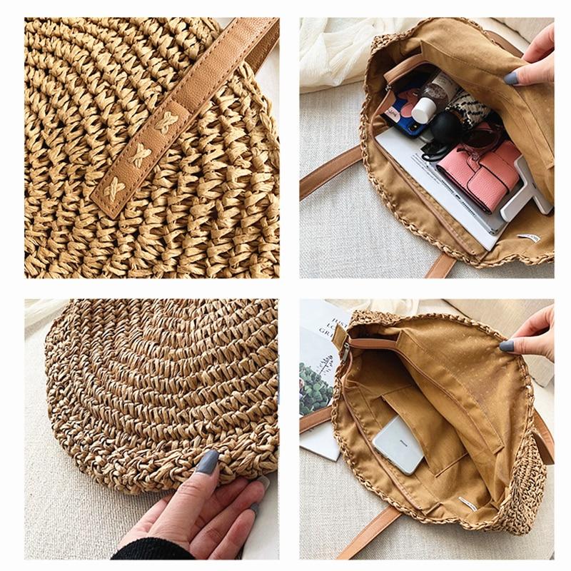 2020 été sacs de paille ronde pour femmes rotin sac à bandoulière à la main tissé plage sacs à main femme Message sac à main fourre-tout sac 4