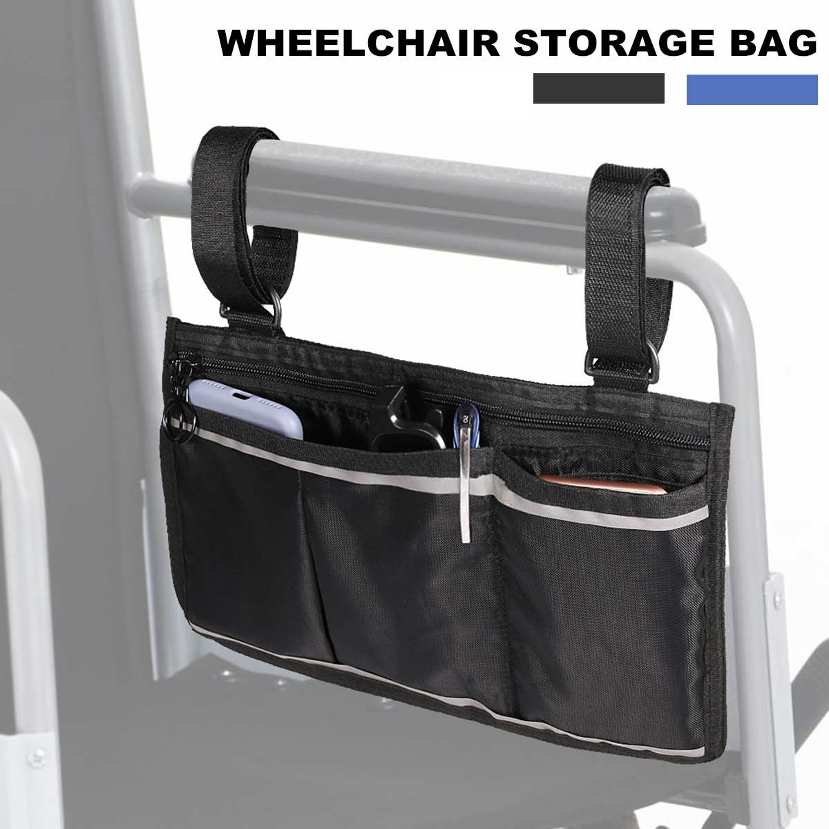 1 Style Black Mobile Cup Holder and Storage Pockets for Walkers Strollers Wheelchairs