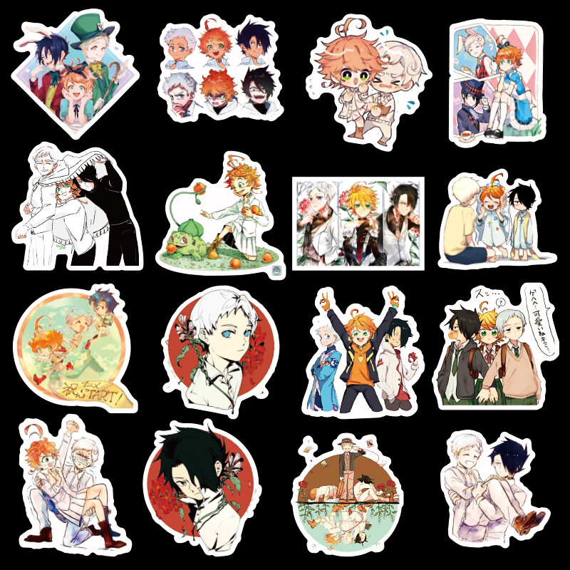 50 Pcs/set Anime The Promise Neverland Stickers Emma Ray Norman Don Gilda Phil Isabella Figure Sticker for Wall Gifts