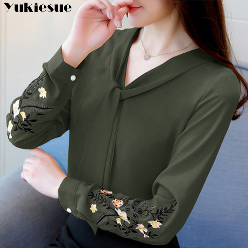 Blusa de gasa bordada de manga larga, tops y blusas para mujer, camisa de oficina 2019 para mujer, tops, blusas, blusa femenina