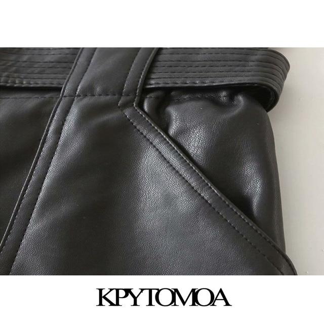 KPYTOMOA Women 2020 Chic Fashion With Belt Faux Leather Shorts Vintage High Waist Zipper Fly Pockets Female Short Pants Mujer 5