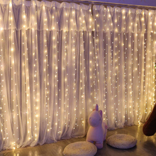 3M LED Window Curtain String Light Christmas Wedding Party Home Garden Bedroom Outdoor Indoor Wall Decorations Warm White