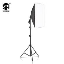 Photography Softbox Lighting Kits 50x70CM Professional Continuous Light System For Photo Studio Equipment cheap SH-RGX-01 Polyethylene Rectangle 1 6KG 70x12x12 70-200CM Height Max 2KG E27 base 50CMx70CM EU plug US plug Uk plug AU plug