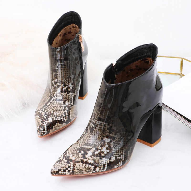 Meotina automne bottines femmes couleurs mélangées bloc talon bottes courtes Zipper extrême chaussures à talons hauts dames rouge bleu grande taille 43