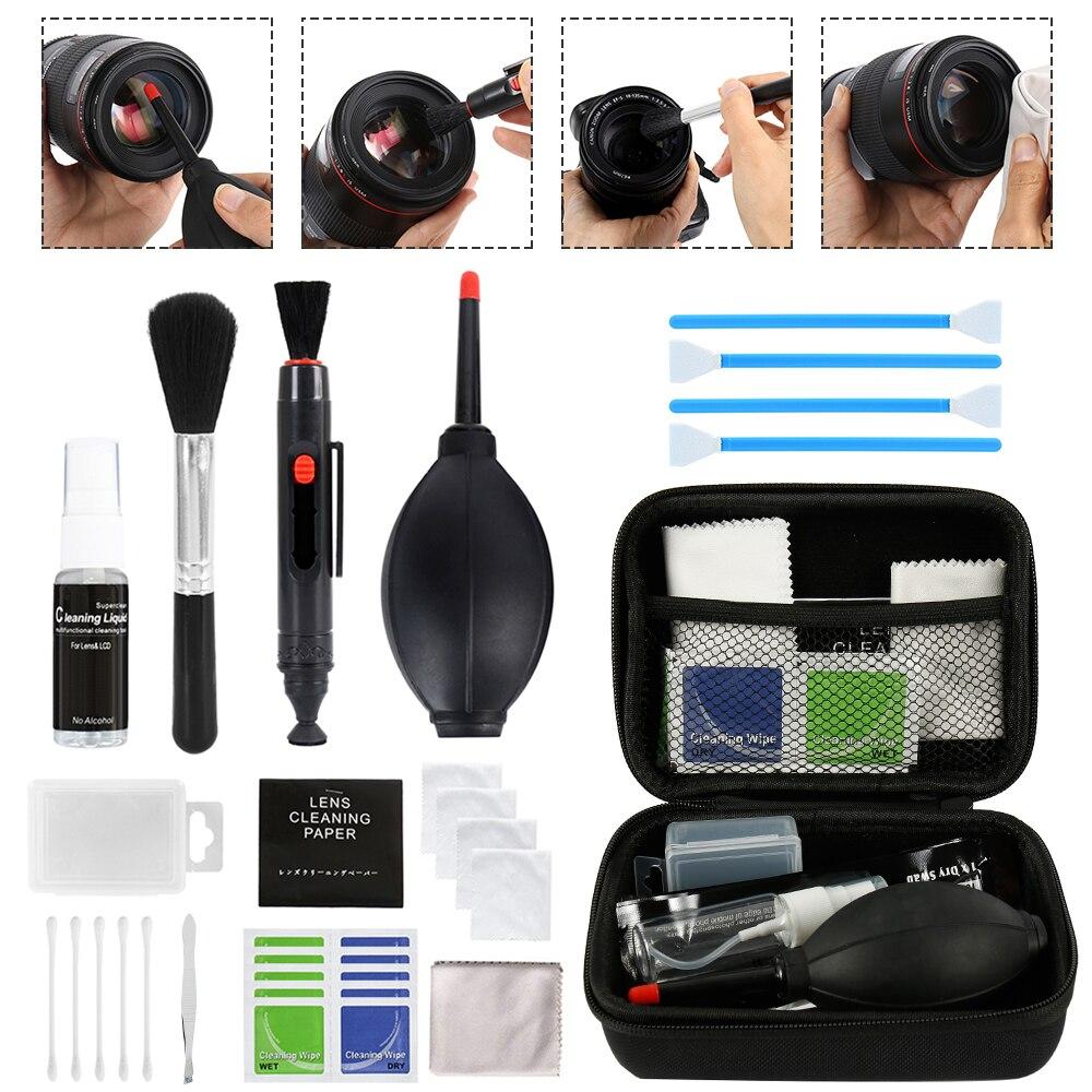 Profissional kit de limpeza da câmera lente dslr equipamento spray garrafa caneta escova ventilador prático câmera digital ferramentas limpas
