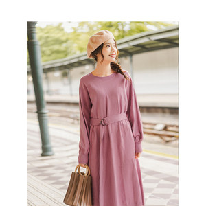 Image 3 - INMAN Spring Autumn O neck Drop shoulder Sleeve Solid Loose Casual With Belt Women Jersey Dress