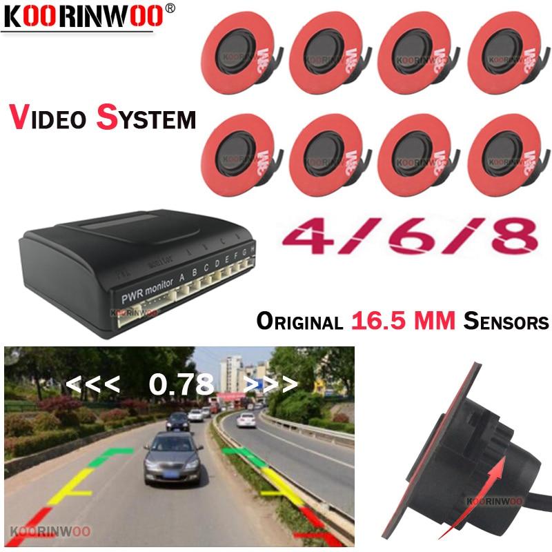 Koorinwoo parktronic 13mm rotação plana sensores de estacionamento do carro 8/6/4 retroiluminação frontal traseira buzzer 12 v para andriod dvd sistema vídeo
