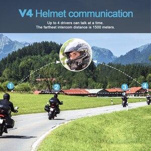 Image 3 - V4 interkom interkom Intercomunicadores De kasko Moto kask bluetooth kulaklık Intercomunicador Moto radyo 4 biniciler 1200m interkom Moto