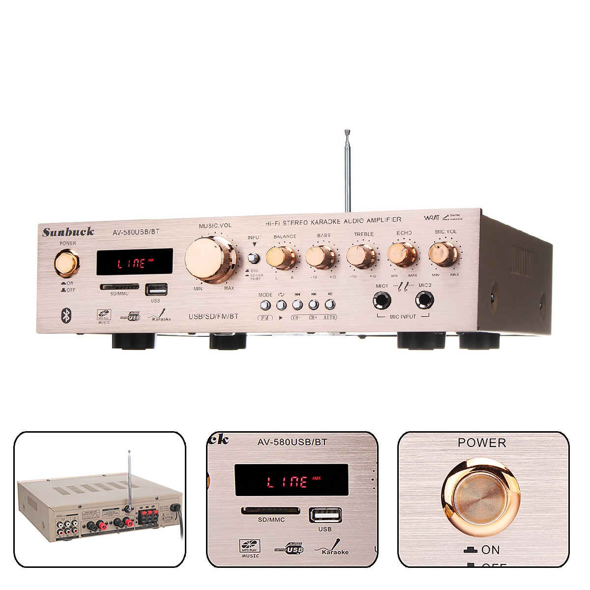 920W 220V 5CH Bluetooth HiFi Stereo AV Surround Amplifier FM Karaoke Cinema Home Home Theater Amplifiers