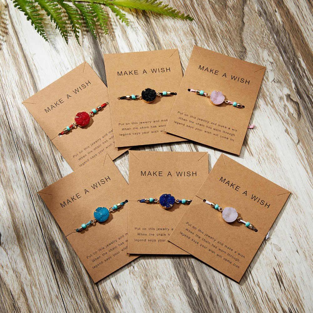 Bir dilek renkli doğal taş dokuma kağıt kart bilezik ayarlanabilir şanslı kırmızı dize bilezik kadın moda takı hediyeler