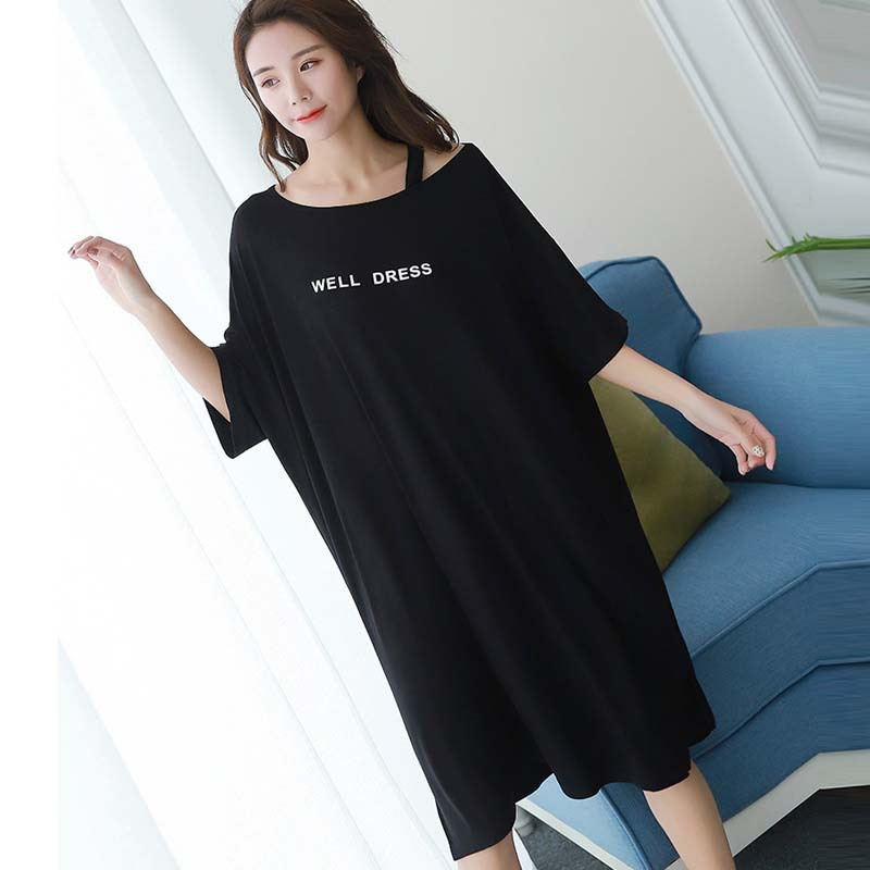 Summer Short-sleeved Nightgown Women's Black Off-Shoulder Lettered Skirt M -Xxl