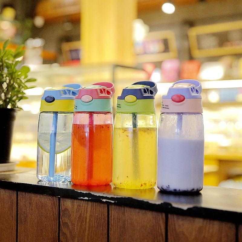 Cartoon Kids Sport Water Bottle Baby Water Cup Leak Proof Bottle with Straw Lid Children School Outdoor Drinking Water Bottle