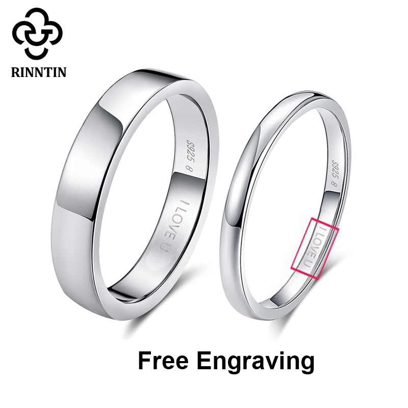 Rinntin 925 Sterling Silver Simple Couple Ring Lovers' Geometric Wedding Engagement Rings Fine Jewelry Engrave Words TSRC1