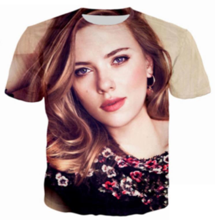 2019 Printed Men 3d Hoodies Scarlett Johansson T Shirt Boy Quality Fashion Tshirts Short Sleeve Street Wear T-shirts