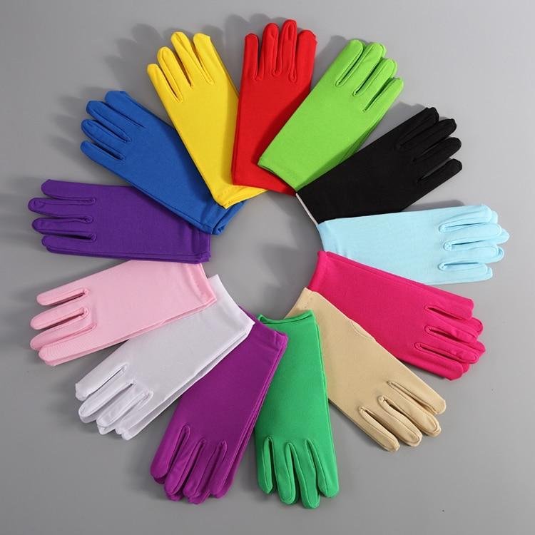 Cheap Pink Bridal Party Gloves Short Women Wedding Accessories Man Etiquette White Cotton Finger Satin Gloves Red Princess Glove