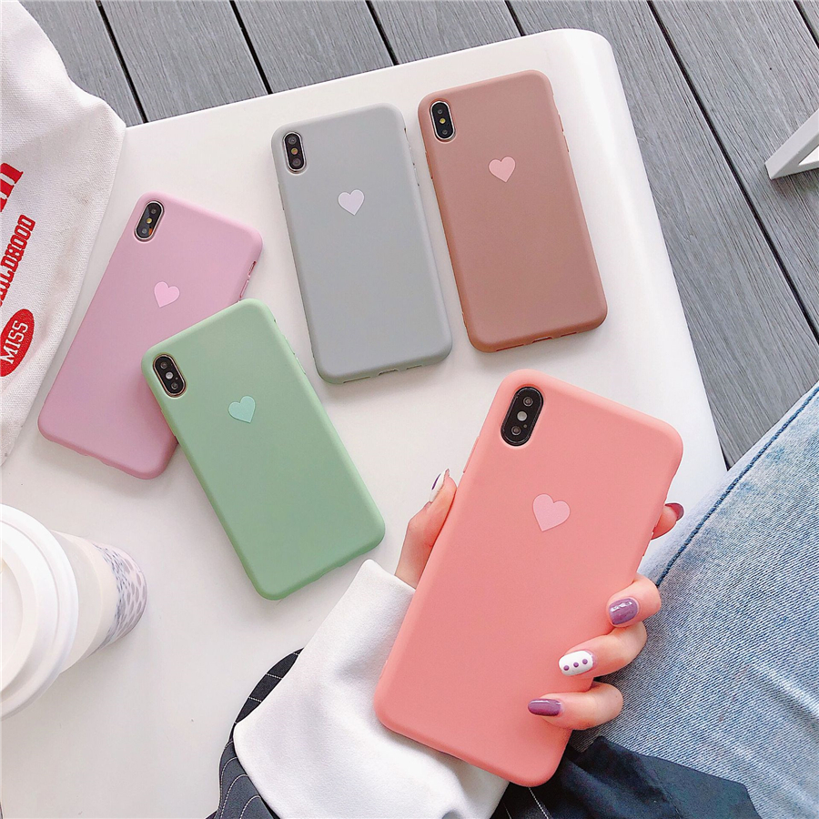 Couples Love <font><b>Heart</b></font> Candy Color Soft silicone Matte Phone <font><b>Case</b></font> For <font><b>iphone</b></font> 8 Plus 6 <font><b>6S</b></font> 7 X XS Max XR Fashion Solid Back Cover image