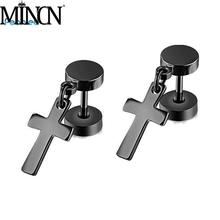 MINCN Quick-selling hot-selling Black Titanium Steel Barbell cross ear nail double-sided twist screw dumbbell wholesale