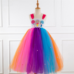 Image 5 - Fancy Rainbow Candy Costume Cosplay For Girls Halloween Costume For Kids Carnival Party Suit Dress Up