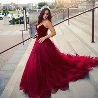 Top Velvet Dark Red Prom Dresses A Line Sweetheart Tulle Modest Bridal Gowns vestidos de Novia Custom Size