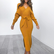 OEAK 2019 New Autumn Women Knitted Sweater Dress Wrap Belted Tunic Vestidos Long Sleeve Double V Neck Split Casual Dresses
