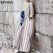 VONDA Women Dress Vintage 3/4 Sleeve Print Party Maxi Long 2019 Spring Summer Bohemian Holiday Vestidos Robe Femme S-5XL