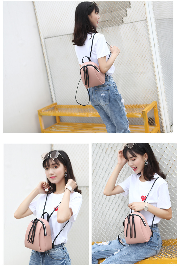 Casual Small Waterproof Backpack Women Solid Color Pu Leather School Bag Simple Mini Zipper Bookbags And Girls Travel Backpacks (12)
