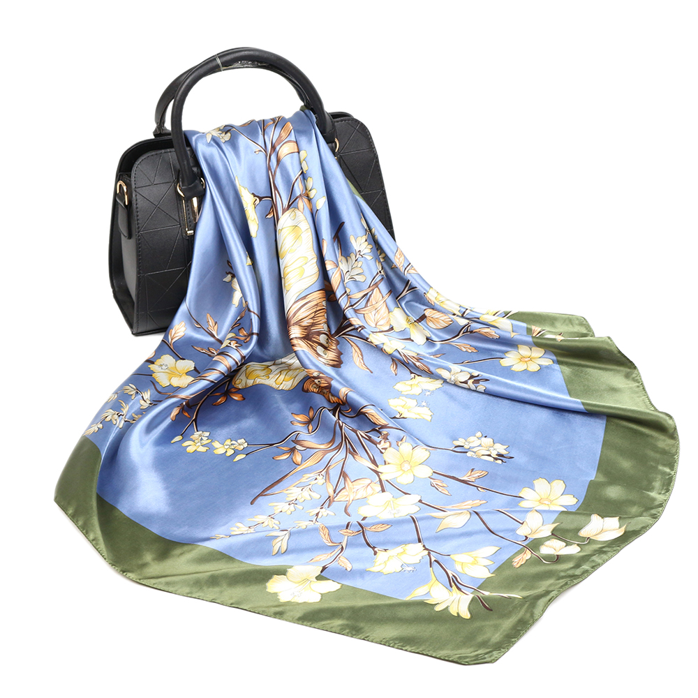 90*90cm Square Silk Scarf Women Fashion Designer Beautiful Flowers Foulard Soft Satin Shawl Kerchief Scarfs Neck Headscarf