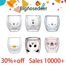 Creative Cute Bear Coffee Mug Double Glass Cup Carton INS Animal Milk Juice Lady Valentine's Day Anniversary Gift