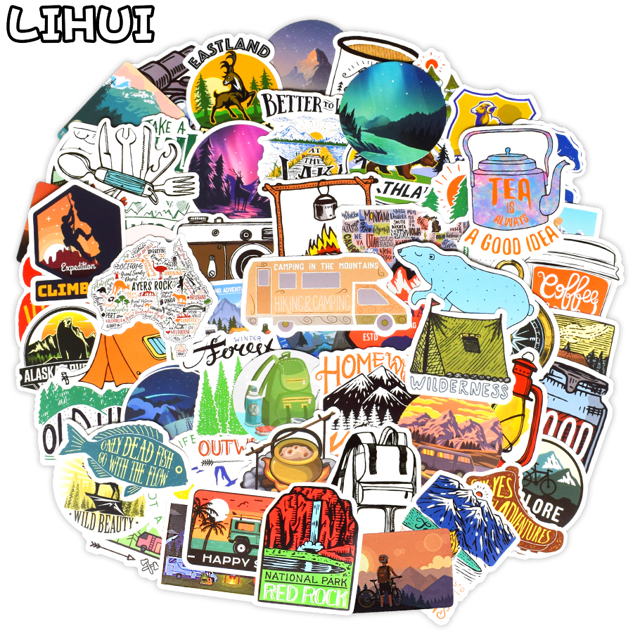 100 PCS Outdoor Camping Stickers Adventure Climbing Hiking Travel Waterproof Stickers To DIY Bicycle Helmet Car Suitcase Laptop