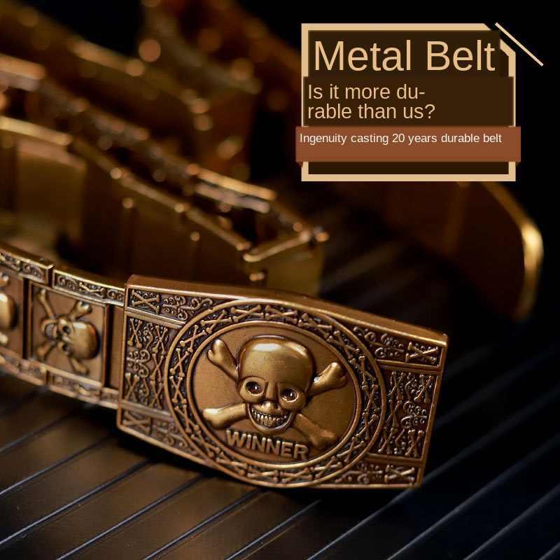Altın kafatası iskelet toka Metal kemer erkek Punk Rock tarzı kendini savunma paslanmaz çelik kemer kişiselleştirilmiş moda b29