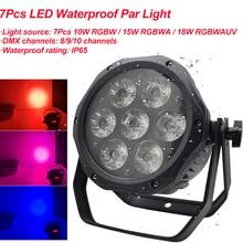 Профессиональный светодиодный прожектор RGBWA + UV 6 в 1, водонепроницаемый, 7x18 Вт, для дискотеки, сцены, вечерние, Клубные, танцевальные