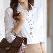 Women Tops Blouses Work-Shirts Blusas Long-Sleeve OL Plus-Size Fashion Female Office Lady