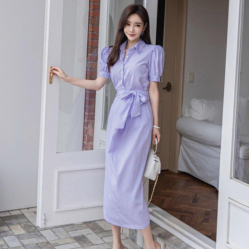 2020 summer new Korean temperament slim fashion belt waist striped shirt dress Office Lady  Sheath  Knee-Length