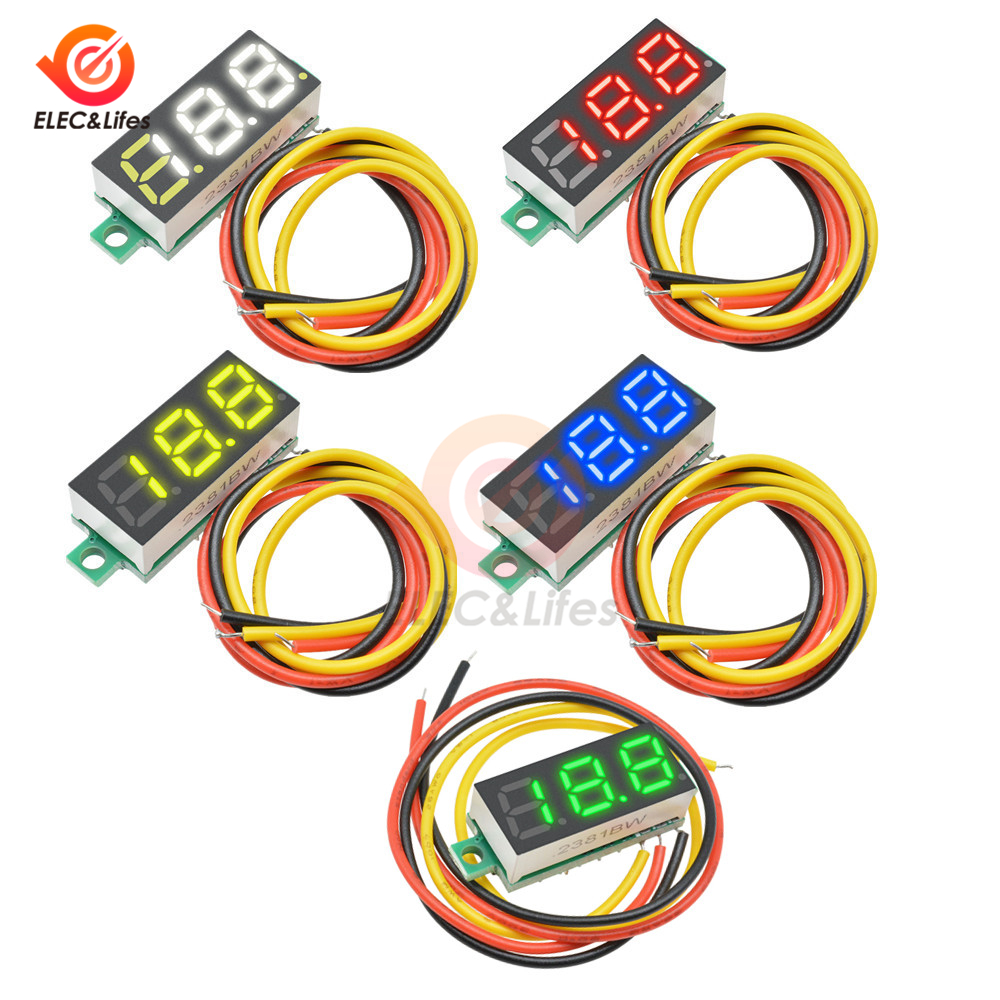 DC 0V-100V Mini 0.28 Inch LED Digital Voltmeter Voltage Meter Volt Detector Monitor Tester Panel Car Voltmeter 12V 24V Red Green