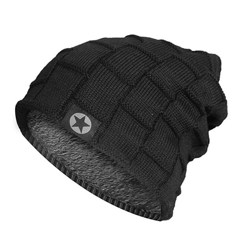 Высококачественная зимняя шапка со звездами теплая шапка бини Мешковатые шапочки вязаная шапка для мужчин женщин лыжные спортивные шапочк...