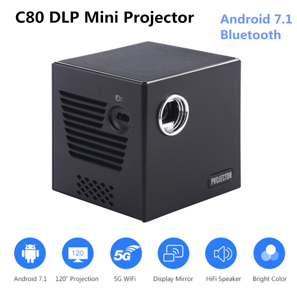 C80 DLP Mini projecteur Android 7.1 OS double bande WiFi 854x480P 1080P 1GB + 8GB Portable Beamer Home Entertainment home cinema
