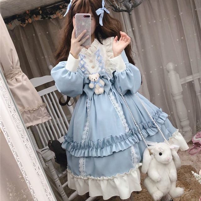Japanese Gothic Lolita Dress Women Kawaii Bow Bear Lace Blue Dress Long Sleeve Princess Dress Halloween Costume Gift For Girls 3