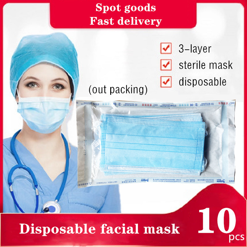 10Pcs Particle Facial Mask Anti-mist Mask 3-Layer Protection Disposable Masks For Helth Care Paramedics Personal Protection