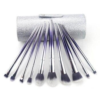 10pcs Makeup Brushes Set Makeup Contour Blush Foundation Powder Eyeshadow Brush Set Gradually Changing Color Brush With Holder