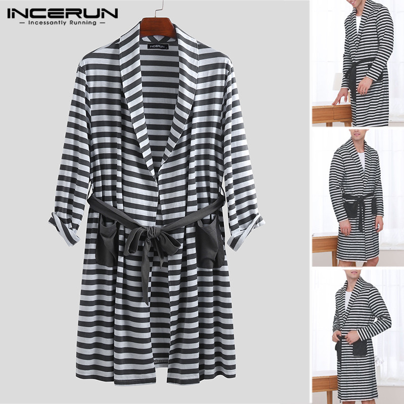 INCERUN Men's Literary Nightgown New Fashion Striped Lapel Pocket Loose Tie Long Paragraph High Quality Long Sleeve 2019 Robe