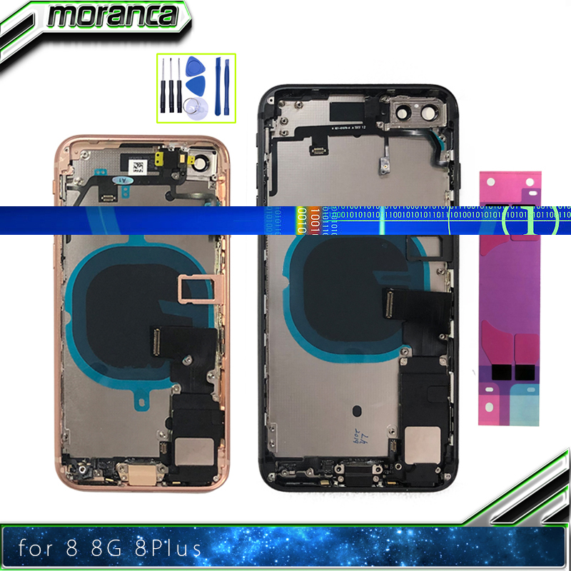 Housing For IPhone 8  8Plus Plus Back Glass Battery Door Cover Middle Frame Chassis With Flex Cable Assembly Replacement Parts