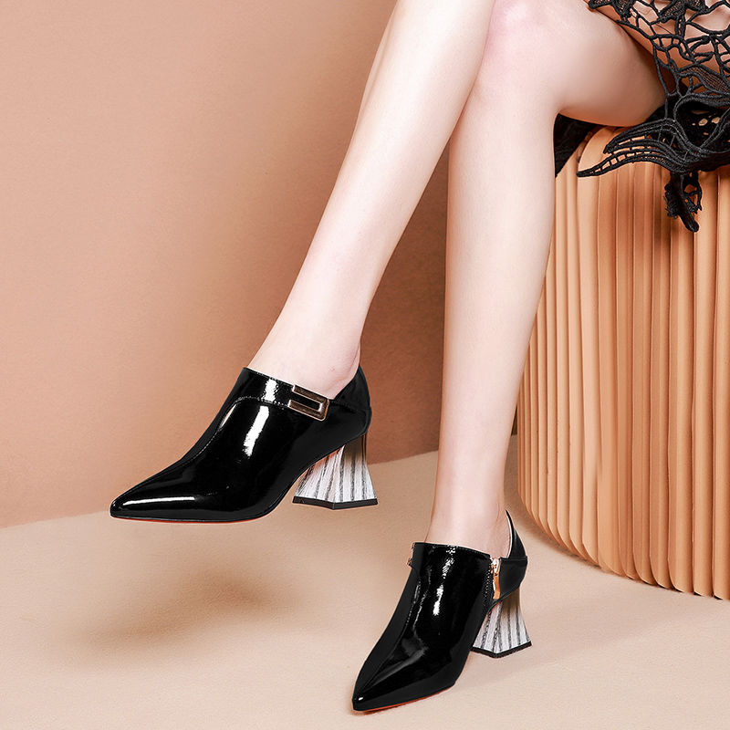 Women's Shoes Square Pointed-Toe High-Heels Black White Woman Free Sock Sticker Buckle