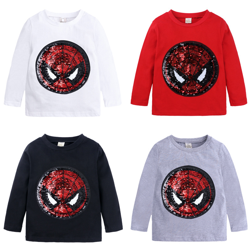 boys long sleeve tops boys and girls spring autumn new style long-sleeved cotton color-changing sequined T-shirt image