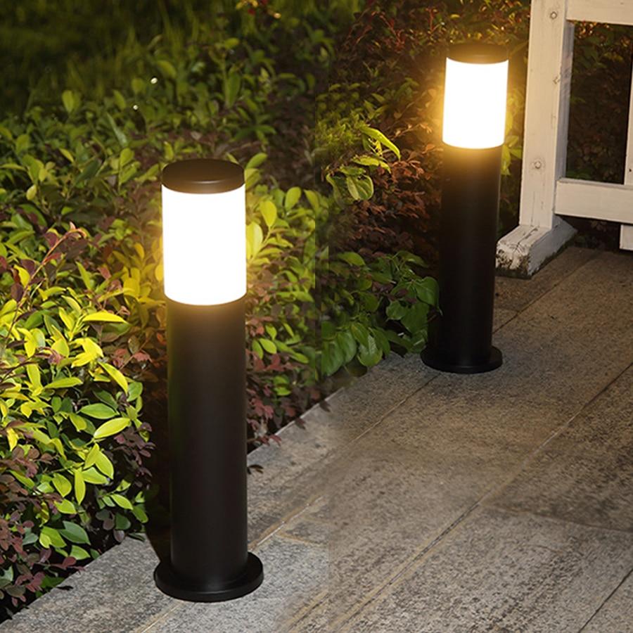 Thrisdar E27 Stainless Steel Lawn Lamp Outdoor Garden Villa Landscape Street Column Lamp Pathway Courtyard Pillar Post Light