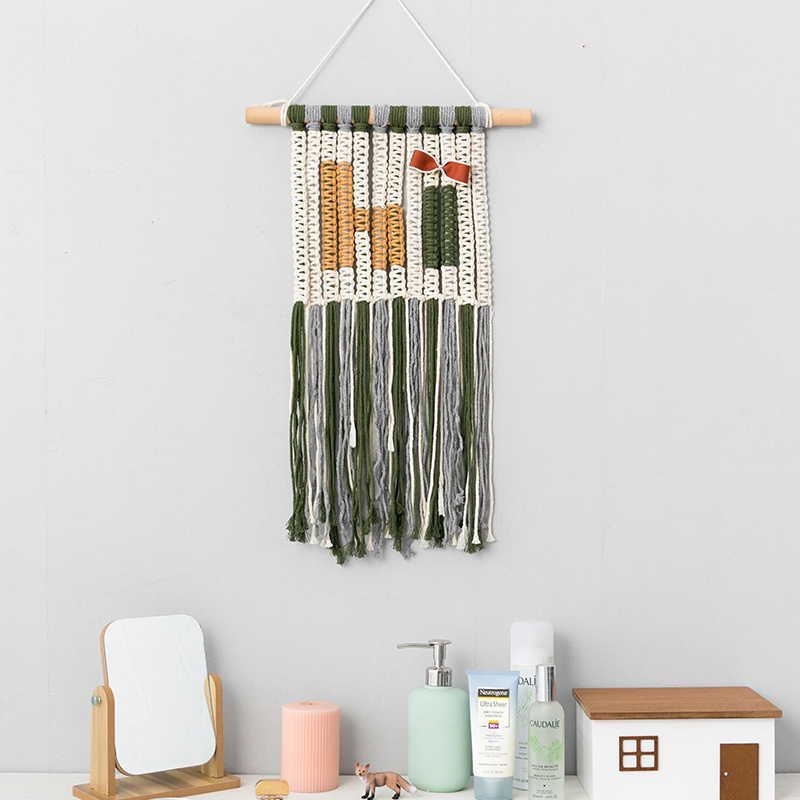 Boho Macrame Tapestry Wall Decor Modern Kids Room Nursery Hanging Decoration Bohemian Fringe Tapestries Handmde Wall Art Leather Bag
