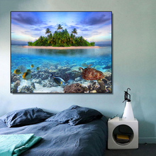 Laeacco Canvas Abstract Painting Calligraphy Seascape Posters and prints Island Wall Art Picture Living Room Bedroom Home Decor