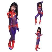 2019 3D Women Girls Movie Version Captain Carol Danvers Cosplay Costume Zentai Superhero  for  Kids Costumes