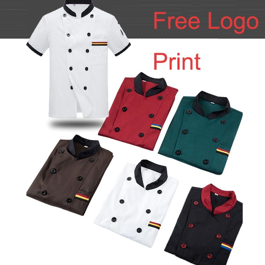 Yüksek kaliteli toptan kasap unlu gıda hizmeti üstleri giyim Custom Made adam şef üniforma gömlek ücretsiz Logo baskı